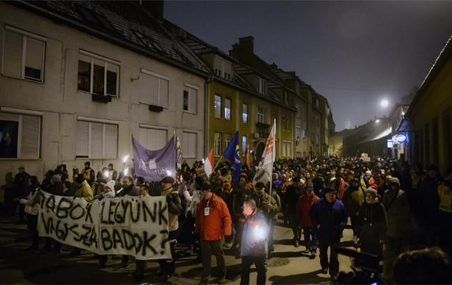 """В Будапеште состоялся протест против """"рабского труда"""""""