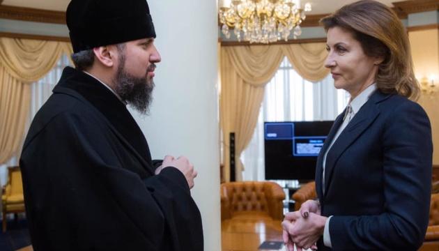 Марина Порошенко поздравила Епифания с избранием Предстоятелем УПЦ