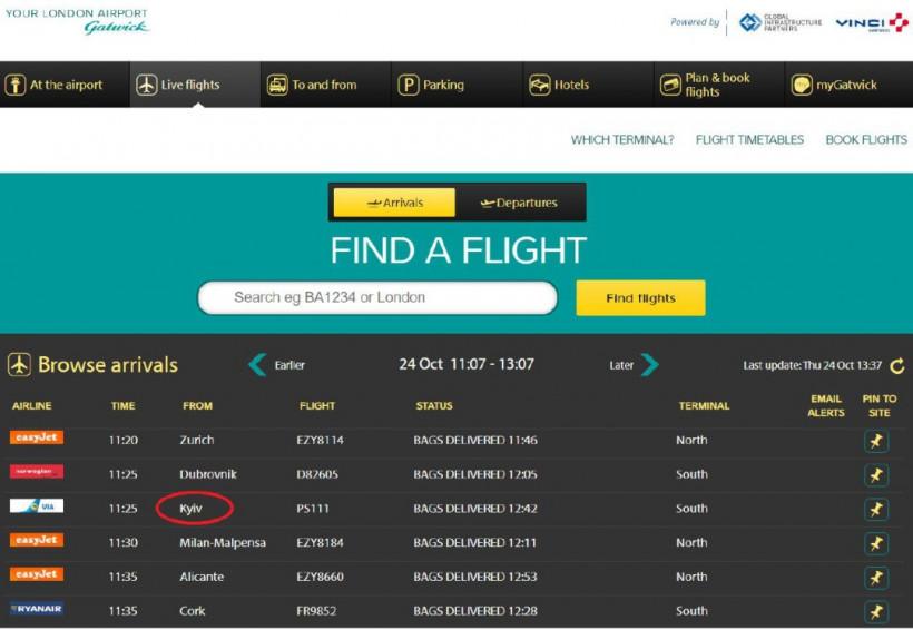 Британский аэропорт Гатвик будет писать Kyiv вместо Kiev
