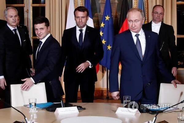 Зеленский и Путин на саммите в Париже
