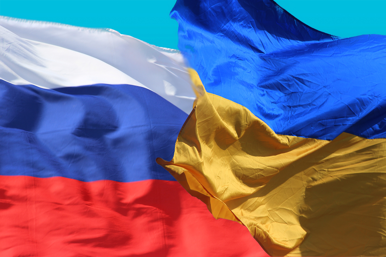 Флаг РФ и Украины