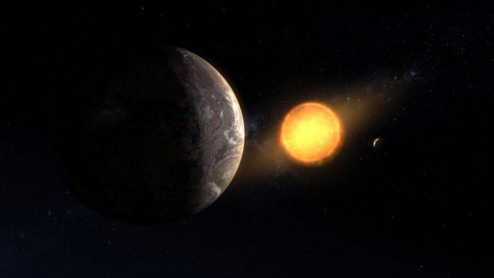 Экзопланета Kepler-1649c и ее звезда.