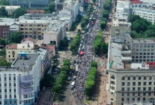 В Хабаровске на митинг вышли 80 тысяч жителей.