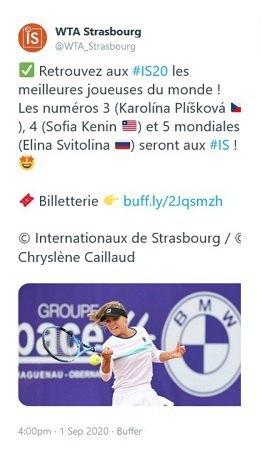 Пресслужба турніру WTA в Страсбурзі назвала Світоліну росіянкою (фото)