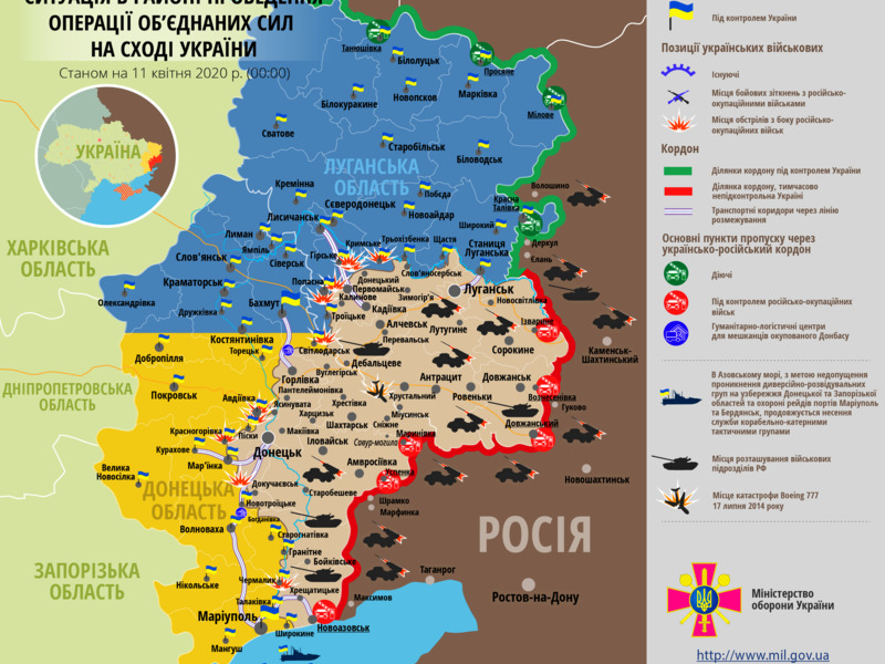 Линия фронта на Донбассе