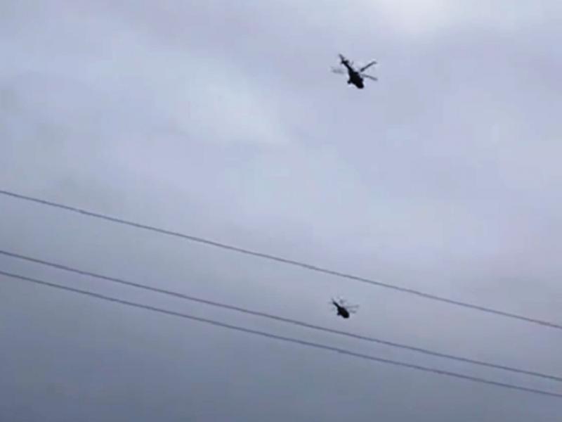 В воздухе боевые вертолеты РФ.